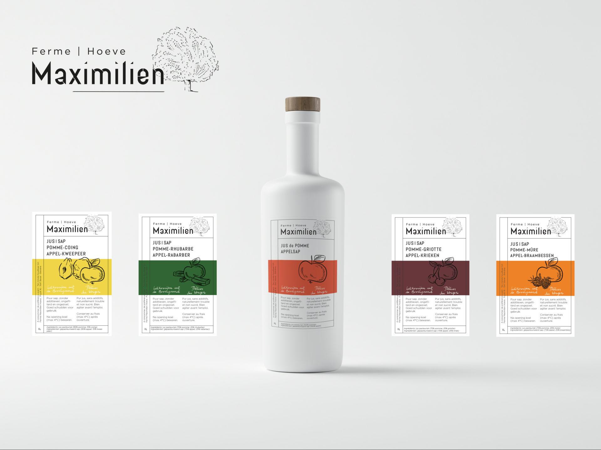 """Ferme Maximilien : Création d'un logo et d'une charte graphique & Création des étiquettes pour les jus issus des """"Produits du Verger"""""""