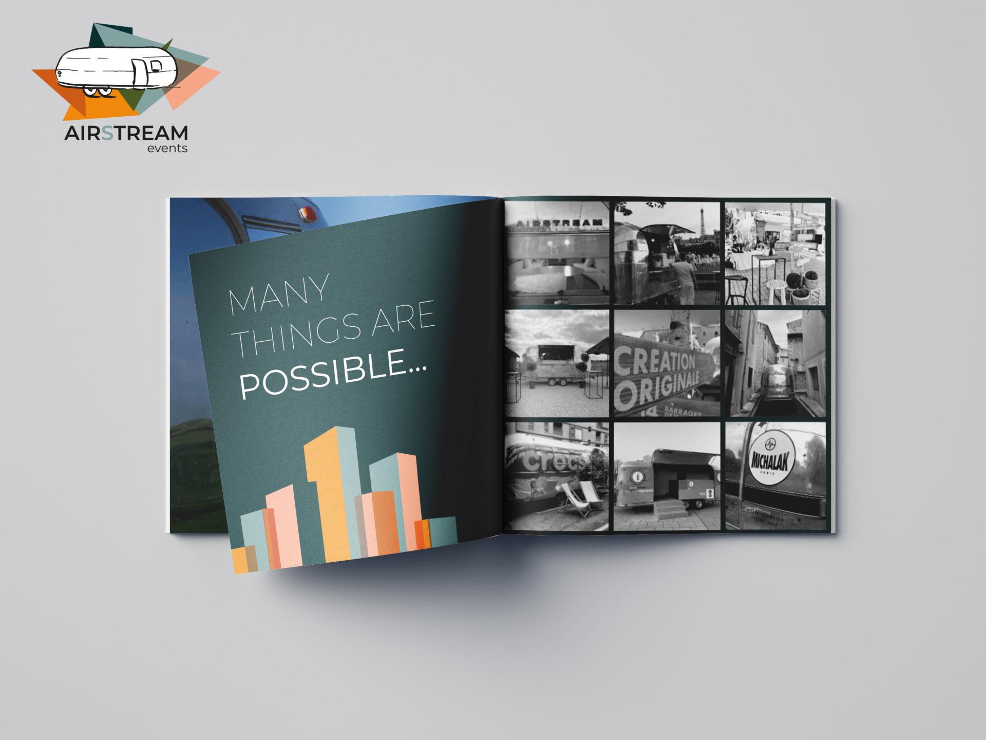 Airstream Events : Modernisation du logo / création d'une brochure / Carte de visite / flyer / fiches techniques / fiches tarifs